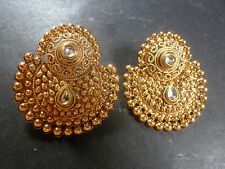South Indian Antique Gold Plated CZ Kundan Polki Wedding Earrings Chand Jhumka
