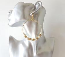 "Gorgeous BIG faux pearl & diamante gold tone hoop drop / dangly earrings, 3.5"""