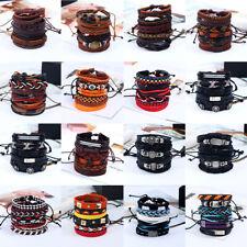leather Braided Bracelet Wristband Bangle 1 Set 6pcs vintage Handmade