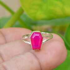 Hot Pink Chalcedony Coffin shape Cut Gemstone Ring For Girls 925 Silver ring