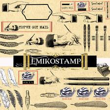 Letter Envelops Vintage Scrapbook Decoupage embellishments,Letter label Stickers