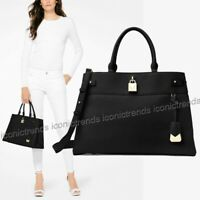 NWT 🌺 MICHAEL KORS GRAMERCY LARGE PEBBLED LEATHER SATCHEL TOTE BLACK GOLD