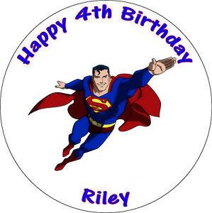 "SUPERMAN 8"" ROUND PERSONALISED PRINTED BIRTHDAY CAKE TOPPER"
