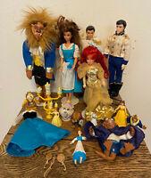 Lot Disney Beauty & Beast, Little Mermaid, Cinderella Barbie Dolls, Accessories