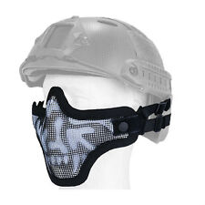 Mesh Half Face Helmet Mask Airsoft Paintball Protective Tactical Gear Blk Skull
