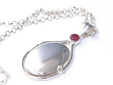 New Hand Made 925 Sterling Silver 4mm Natural Ruby Locket H2O Mermaids Necklace