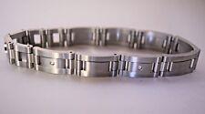 "STEL Men's Bracelet ~ Stainless Steel With Diamonds ~ 8-1/2"" Long"