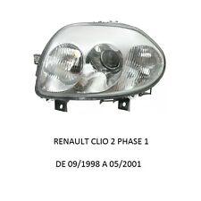 COTE GAUCHE CONDUCTEUR FEUX PHARE AVANT DOUBLE OPTIQUE RENAULT CLIO 2 PHASE 1