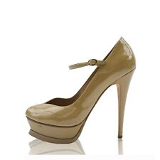 YVES SAINT LAURENT BEIGE PATENT LEATHER ANKLE STRAP PUMPS
