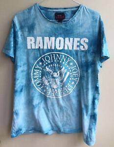 Men's Ramones Blue Tie Dyed Short Sleeve T Shirt, Size Large Excellent Condition