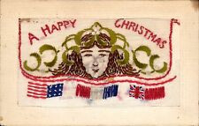 World War 1 Embroidered Silk. A Happy Christmas. Girl's Face by J.S.,Paris.