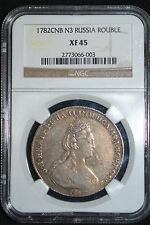 1782 Russian Impire Silver Coin One 1 Rouble  Ruble NGC XF45 Russia R