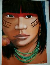 Aztec Indian Chief Maori Tribal Oil Art on Canvas Mayan Native Warrior Painting