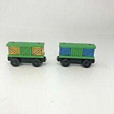 Thomas & Friends Wooden Railway Train Tank Engine Sliding Doors Box Cars Lot x2