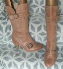 Your Feet Look Gorgeous Tan Leather Knee High Cowboy Style Boots UK 6