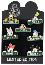 Disney 7 Trading Pin Set - Street Signs - Mickey Minnie Goofy Donald Pluto Chip