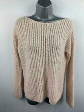 WOMENS NEXT PEACH SILVER SEQUIN STRIPE CASUAL JUMPER SWEATER PULL OVER SIZE M