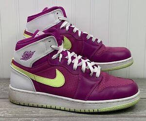 Nike Air Jordan Retro 1 High Fuchsia Liquid Lime Women's Size 9/7.5Y(332148-509)