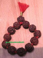 Prayer beads mala Rudraksha mahamritunjaya mantra knotted 11+1 India yoga japa