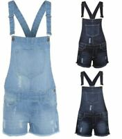 Kids Girls Vintage Ripped Denim Short Dungarees Jeans Pant Play Suit Size 7-13yr