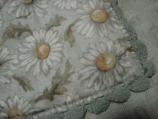 "Vintage 20s 30s Baby Crib Blanket Quilt Daisy Flowers Crochet Hem Vgc 32x37"""