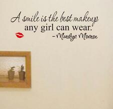 Home Decor Smile Makeup Marilyn Monroe Quote Vinyl Wall Sticker Decal Art Mural