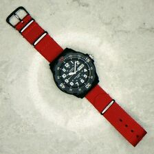 Casio Men's Dive Watch with Red Nylon Nato Strap (MRW-200H-1BVES)