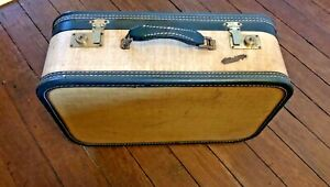 "Vintage TRAVEL JOY Train Case Suitcase Brown Tweed Green Satin Interior 18""x12"""