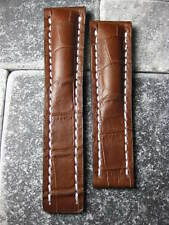 20mm Leather Strap Brown Deployment Watch Band BREITLING 20 mm White
