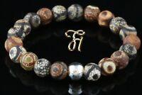 Tibet Achat 925er sterling Silber Armband Bracelet Perlenarmband braun 8mm