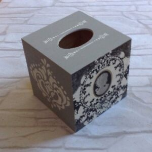 Cameo Black Tissue Square Box Cover Holder wooden handmade decoupaged