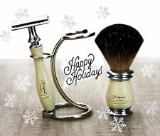 3 Pieces Men's Shaving Set In Ivory Color. Perfect Gift This Christmas For HIM
