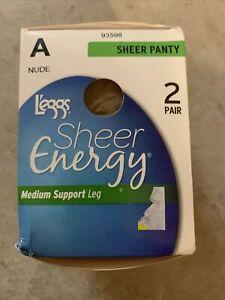 Leggs Sheer Energy Pantyhose Medium Support Leg Size A Nude 2 Pair Brand New
