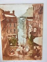 Alain Lacaze Listed Artist Signed Aquatint  Etching Block Print Petit Champlain
