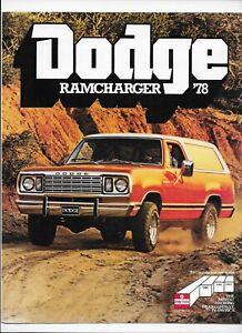 1978 Dodge Ramcharger brochure