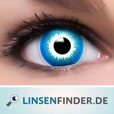 """Farbige Kontaktlinsen blau """"Elf"""" + Behälter blaue Halloween Linsen Fun Crazy"""