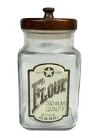 Vintage White Star Flour Anchor Hocking Glass Canister - Advertising Promotional