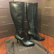 NEW Gucci Black Leather Knee High Full Zip Stiletto Boots, 10.5, $1,230