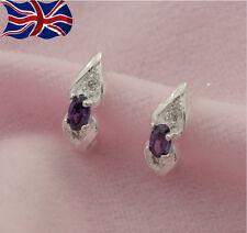 925 Sterling Silver Stud Earrings Purple Crystal Girls Gift Butterfly UK