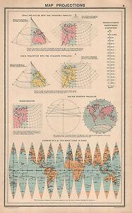 1931 PRINT ~ MAP PROJECTIONS CONIC PARALLELS BONNE'S VA DER GRINTEN'S PROJECTION