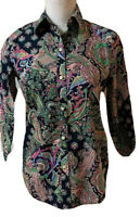 Lauren Ralph Lauren Womens Shirt Top Button Non Iron Paisley Blue Pink Green XS