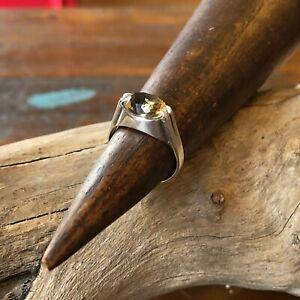 Art Deco Modernist Solid Silver Citrine Ring Size 6.25 Vintage Fine Jewellery