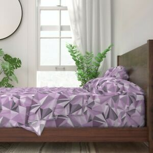 Gem Amethyst Purple Crystal Stone 100% Cotton Sateen Sheet Set by Roostery