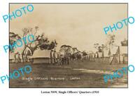 OLD 6 x 4 PHOTO LEETON NSW SINGLE OFFICERS QUARTERS c1910