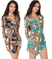 Q64 Ladies Baroque Versace Inspired Print Plunge Long Slv Wrap Mini Dress 8-14