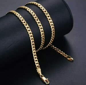 14k solid GOLD CHAIN 4mm CUBAN LINK CHAIN NECKLACE MENS AND WOMENS