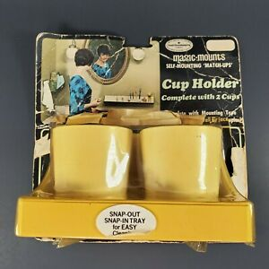 Vintage Magic Mounts Self-Mounting 'Match-Ups' Bathroom Cup Holder Harvest Gold