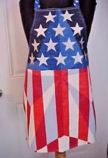 Apron Unisex Patriotic Red White Blue Flag Sparkly Fabric Size M Cotton New