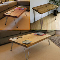 Coffee Table Hairpin Legs, Side Table, Desk, Solid Wood Retro Rustic, Handmade