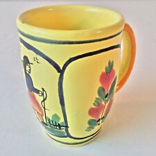 HB QUIMPER SOLEIL YELLOW COFFEE TEA MUG CUP HANDLED BRETON MAN FRANCE VTG